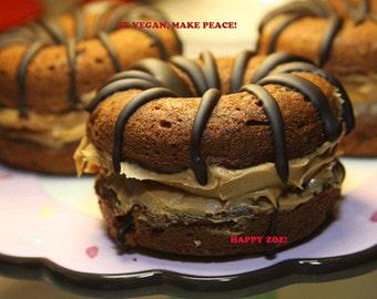 Vegan Gluten free Super Yummy double chocolate peanut butter doughnuts,no eggs,no dairy,no lactose,no gluten