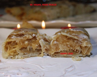 Vegan Crepes filled with baked apples and delicious coconut sauce,Natural,Healthy,Dinner,Lunch,Snack,Birthday.