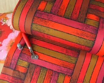 Vintage Savalux Screen Printed Fabric by Gabrielle Cie, Mod weaved stripe print, Red, Brown, Gold, OLive Green, fuschia, Black & Orange.