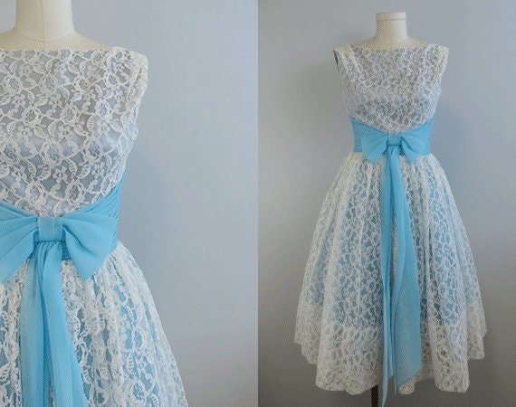 Vintage 1950s Prom Dress / 50s White Lace and Blue Chiffon Prom Party Dress