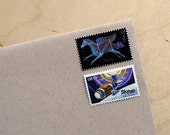 Night Sky - Vintage unused postage stamps to post 5 letters - or use in scrapbooking and crafts - beautiful constellations
