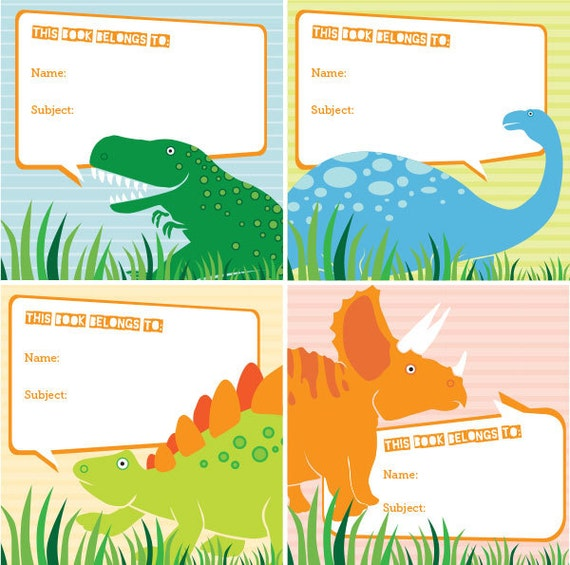 Dino-Mite Book Label Printables Dinosaur School Labels