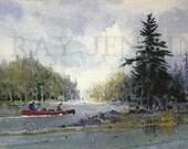 Red Canoe Crossing Adirondack Mountain Lake Painting