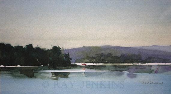 Adirondack Lake Evening Canoe Reflections Painting