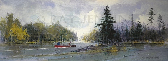 Red Canoe Crossing Adirondack Mountain Lake Painting