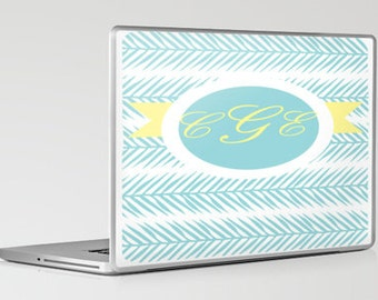 Laptop Skin- Fern Banner Aqua and Yellow (Can be personalized)