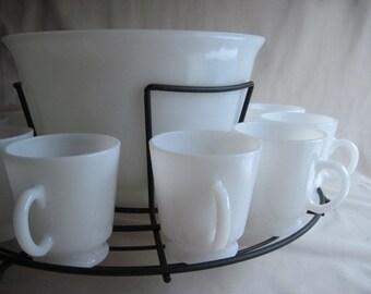 New Price! Milk Glass Punch Bowl Set