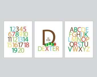 Kids room wall art, Personalized Name, Alphabet, Numbers - Hungry Caterpillar - Three 8x10 Prints