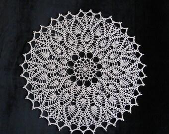 Crochet round ecru doily 20 inches