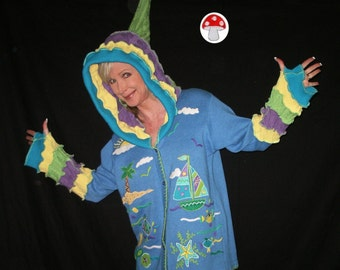 Sailing Elf Hoodie Extra Large XL Spring Boating Cardigan Purple Green Yellow Blue Pixie Sweater Sun Starfish Tropical Fairy Beach Jacket