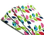 Eco friendly colorful leaves napkins unpaper towels 4 reusable, wash cloths, wipes, 2 ply  housewarming gift pink blue green
