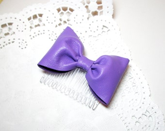 Leather Violet hair bow,Violet  cheerleader bow, leather  bun bow, Sock bun bow,purple leather bow, Girls hair bow-leather wedding accessory