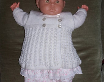 HAND KNITTED Baby Cardigan -  White Crossover Double Breasted. (Ready to Ship)