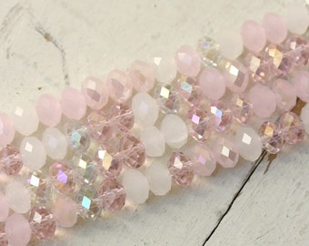 Mix - Milky Pink Rose AB Moonstone White - Faceted Crystal Beads, Chinese Glass Rondelles 8mm x 5mm Rondel strand