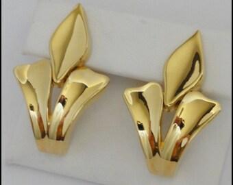 Vintage Givenchy Designer Large Statement Earrings Fleur De Lis Door Knocker Paris New York Mint Condition