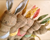 Spring Easter Bunny Rabbit Plush Softie in Mint, Pink, Baby Blue, Yellow, & Vintage Floral with Cotton Tail