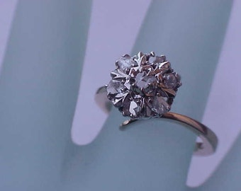 Antique Victorian  14k Gold 1.00ct Rose Cut  Diamonds  Ring,late 1800s