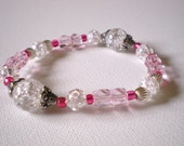 SALE for a LIMITED TIME! Glass pink and clear bracelet- Valentine- Frosty Glass