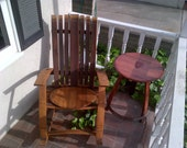 Two Piece Set / Wine Barrel Rocking Chair / Side Table Set