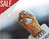 SALE! Red cat paw. Funny gift for catlover. Animal bookmark.