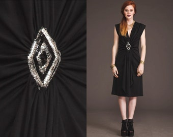 Vintage 80s PLUNGING Dress // Deep V // Silky Black // Sequins // Grecian // Light Silky