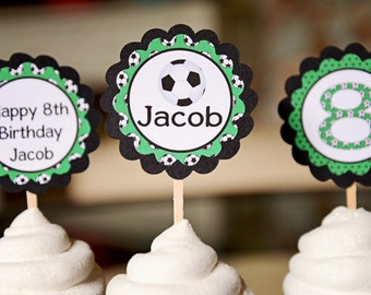 Soccer-Soccer cupcake toppers-soccer party-soccer birthday-set of 12 toppers