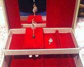 Swiss Made Musical Red Velvet Ballerina Jewellery Box