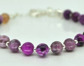 Purple Bracelet, Jasper Gemstone Bracelet, Royal Purple Bracelet, Sterling Silver