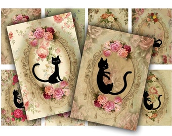 Digital Collage Sheet Download - Cat Silhouette Floral Tags -  575  - Digital Paper - Instant Download Printables