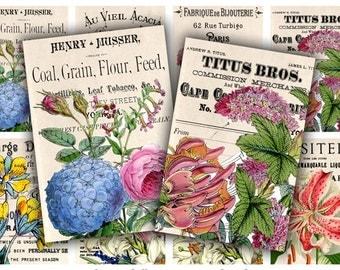 Digital Collage Sheet Download - Botanical Typography Tags -  619  - Digital Paper - Instant Download Printables