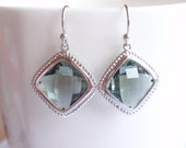 Black Diamond White Gold Frame Earrings-simple everyday jewelry- Bridesmaid,Wife, Girlfriend, Mothers Gift Idea