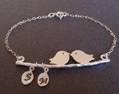 SALE- Personalized Initial Two birds love Sterling Silver bracelet