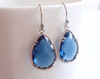 Royal Blue Sapphire White Gold Frame Drop Earrings-simple everyday jewelry- Bridesmaid,Wife, Girlfriend, Mothers Gift Idea