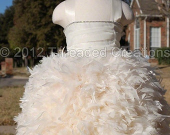 Girls Feather Dress -  Feather Tutu Dress -  Bling Feather Dress