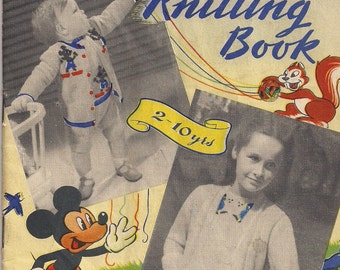 Vintage Minerva Knitting Pattern Book - Disneyland Knitting Book - Children's Clothing.
