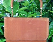 Soft, Brown, Vintage, Suede-Like Handbag with Brass Hardware