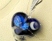 Handmade Crescent Moon Lampwork Bead Jewelry Wave In The Ocean Heart