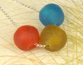 Eco Friendly Recycled African Ghana Bead Necklace Red Honey And Blue