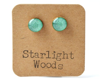 Emerald green stud earrings teen gift green earrings, green studs wood earrings emerald jewelry  eco friendly unique gift for her