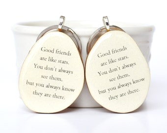 Best friend keychain set best friend gift sister gift gift under 50 going away gift bff key charm nature gift eco friendly