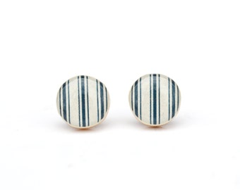 Blue stripe Stud earrings nautical blue earrings nautical post earrings minimalist jewelry gift for her ecofriendly