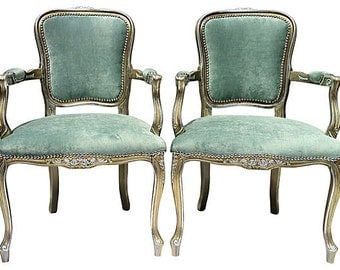 Orange Poppyfield French Bergere Chairs Pair by OrangeNolive