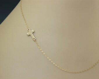 Sideways Cross Necklace, Centered 14K Gold Filled, Celebrity Inspired, East to West Necklace
