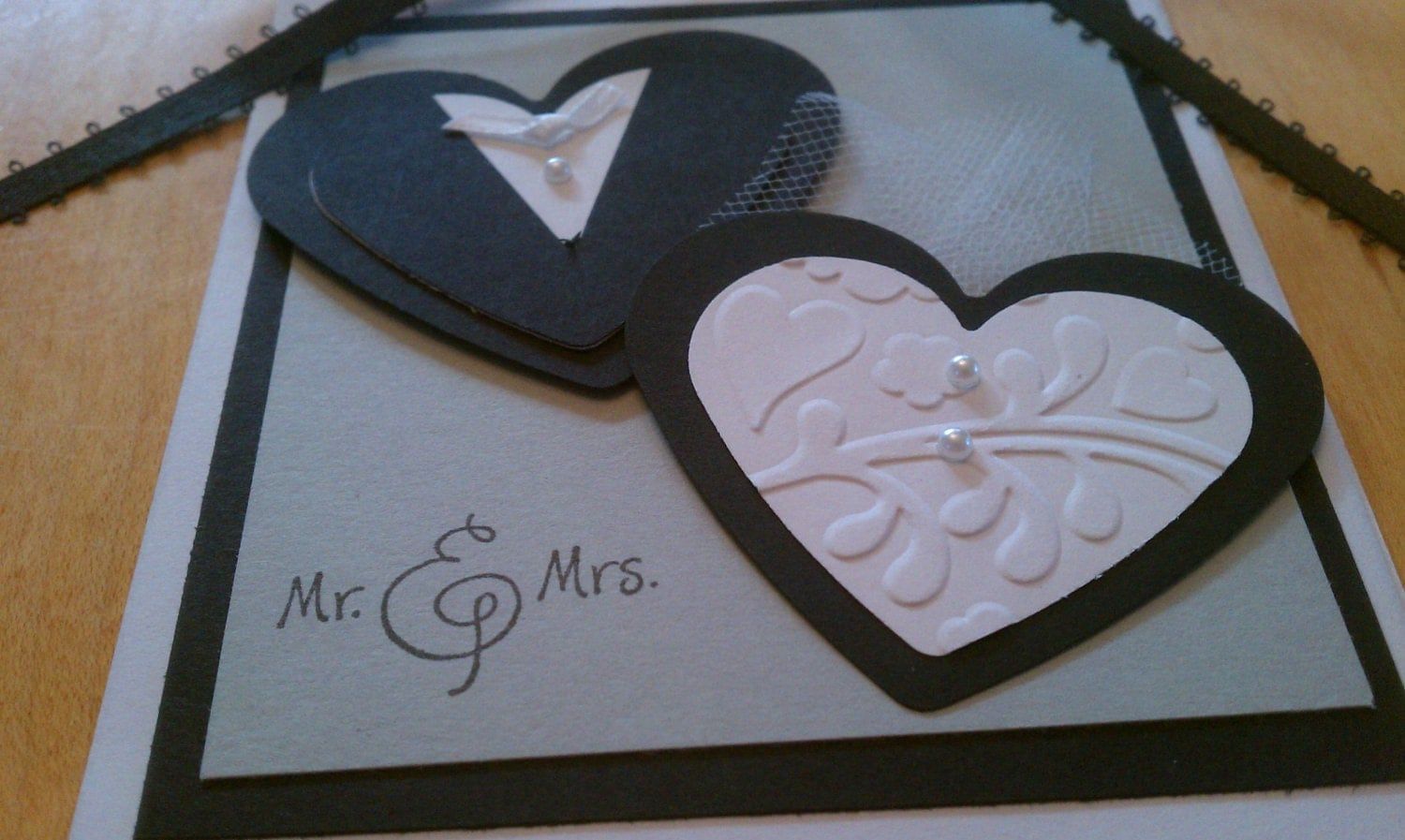 Handmade Wedding Gifts For Bride And Groom: Handmade Bride & Groom Hearts Wedding Gift Tag Card