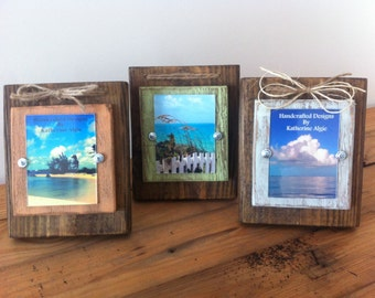 Set of 3 Rustic Wood Distressed Frame with Twine  3 x 4 picture frame