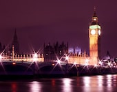 Large Panoramic London Print, Big Ben, Houses of Parliament, London Purple and Gold Wall Decor Fine Art Photography Travel Photo
