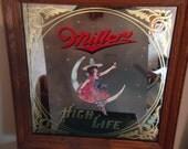 Miller High Life Glass framed bar sign from 1980