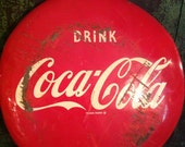 vintage original coke coca cola button 1951 dated tin gas station advertising - TexasJunkLady