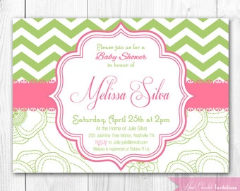 Shabby Chic Baby Shower Invitation - Green & Pink Chevron Invitation. DIY Printable Baby Shower or Bridal Shower or Bridal Shower Invite.