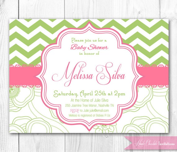 shabby chic baby shower invitation green & pink chevron, Baby shower invitations